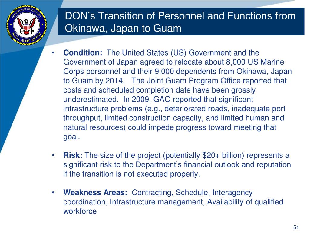 DON's Transition of Personnel and Functions from Okinawa, Japan to Guam