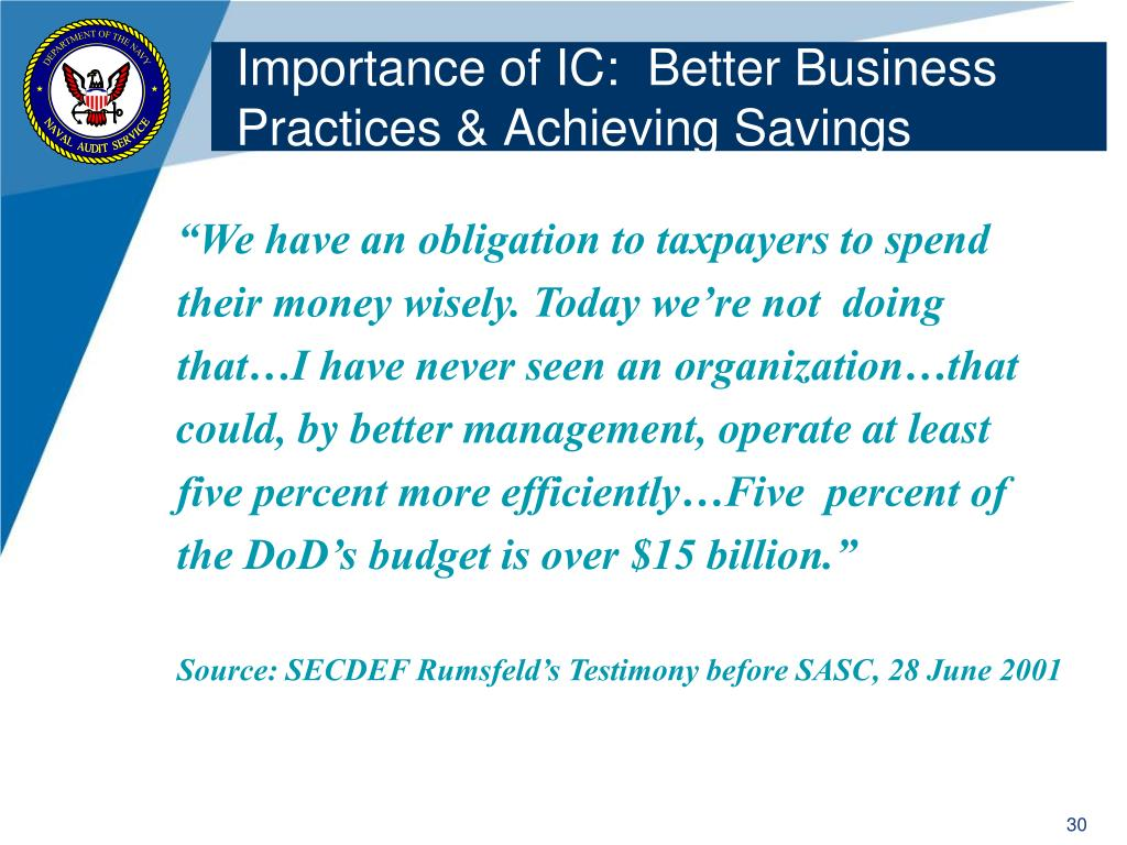 Importance of IC:  Better Business Practices & Achieving Savings