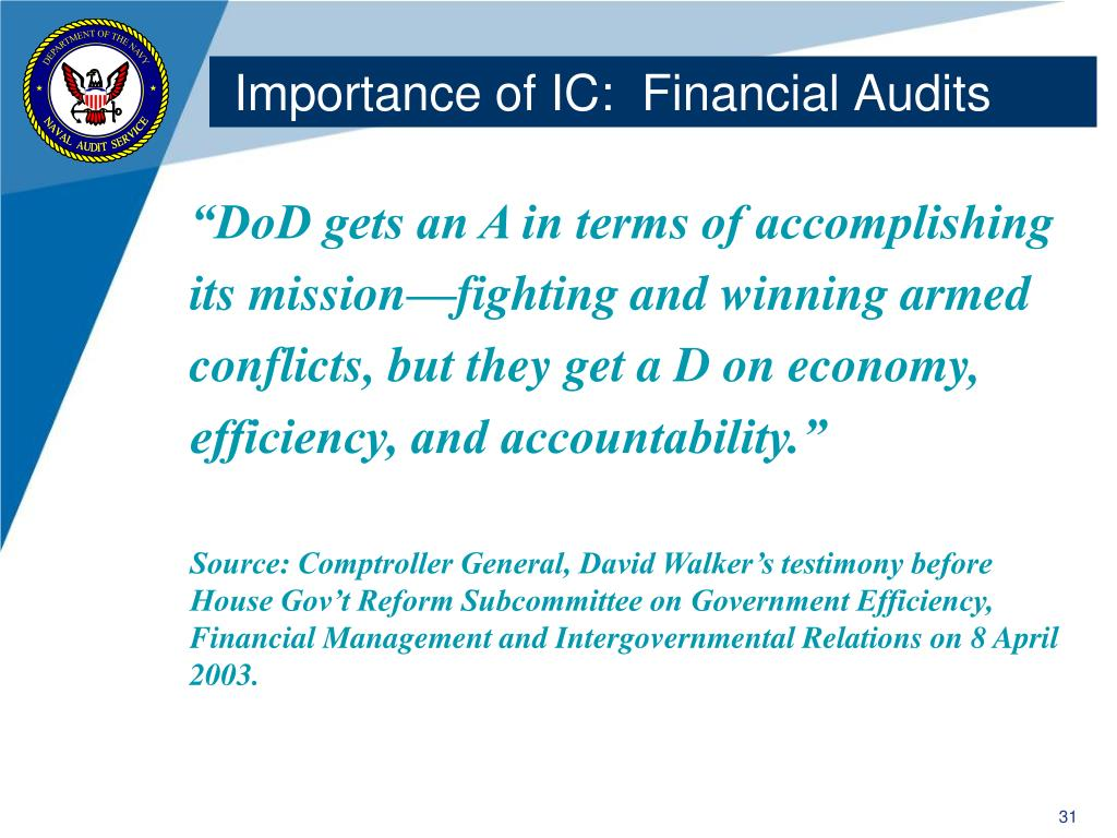 Importance of IC:  Financial Audits