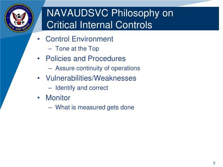 Navaudsvc philosophy on critical internal controls