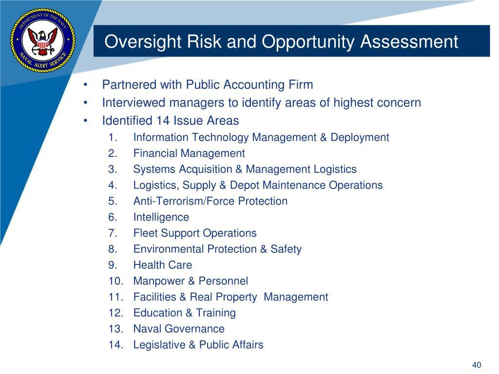 Oversight Risk and Opportunity Assessment