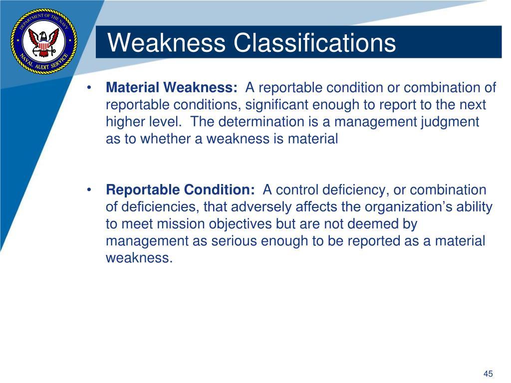 Weakness Classifications