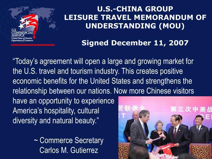 U s china group leisure travel memorandum of understanding mou signed december 11 2007