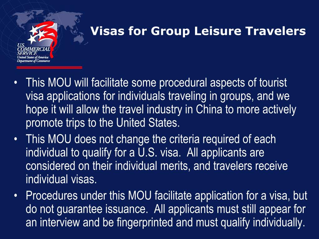 Visas for Group Leisure Travelers