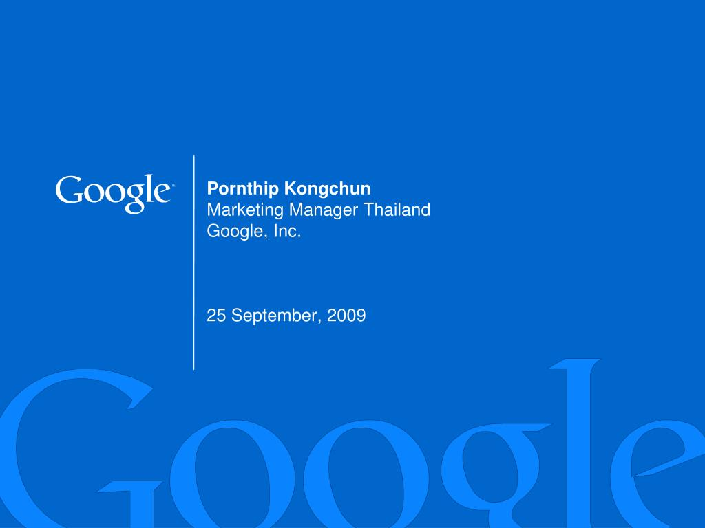 pornthip kongchun marketing manager thailand google inc 25 september 2009 l.