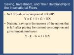 saving investment and their relationship to the international flows