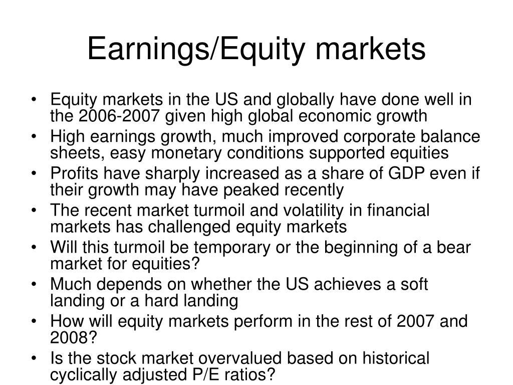 Earnings/Equity markets