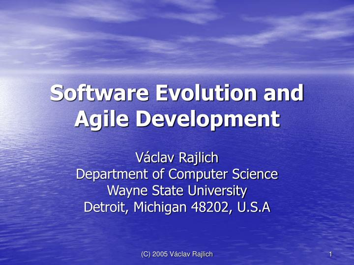 software evolution and agile development n.