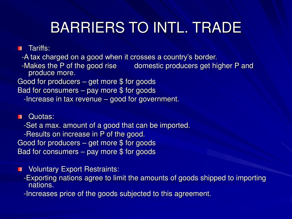 BARRIERS TO INTL. TRADE