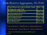 bank reserve aggregates 10 19 01