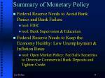 summary of monetary policy59