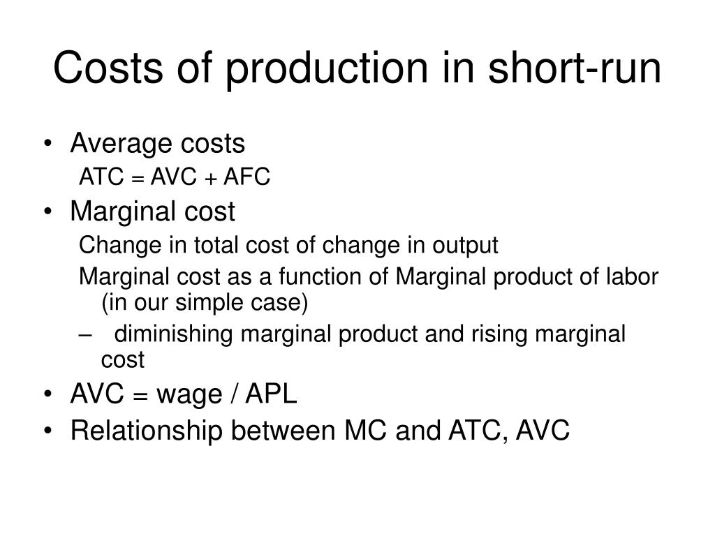 Costs of production in short-run