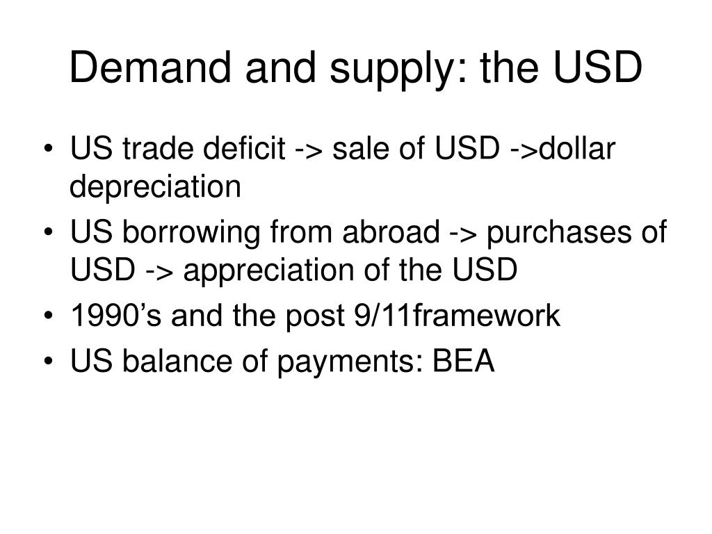 Demand and supply: the USD