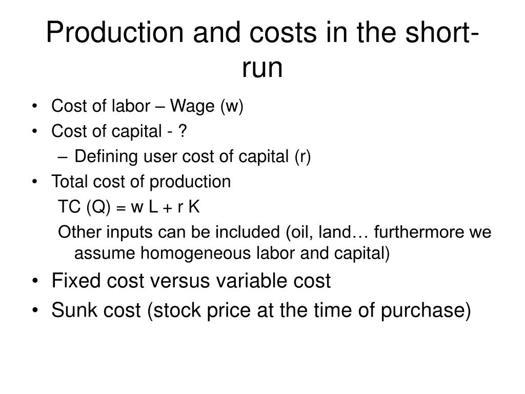 Production and costs in the short-run