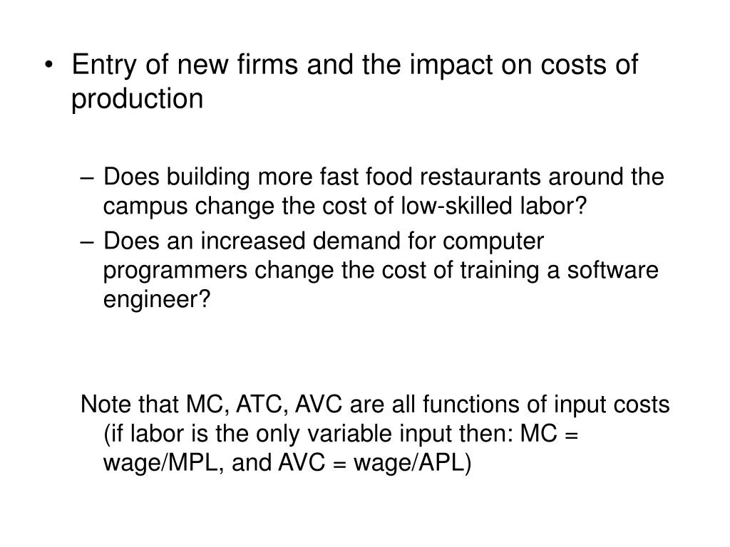 Entry of new firms and the impact on costs of production