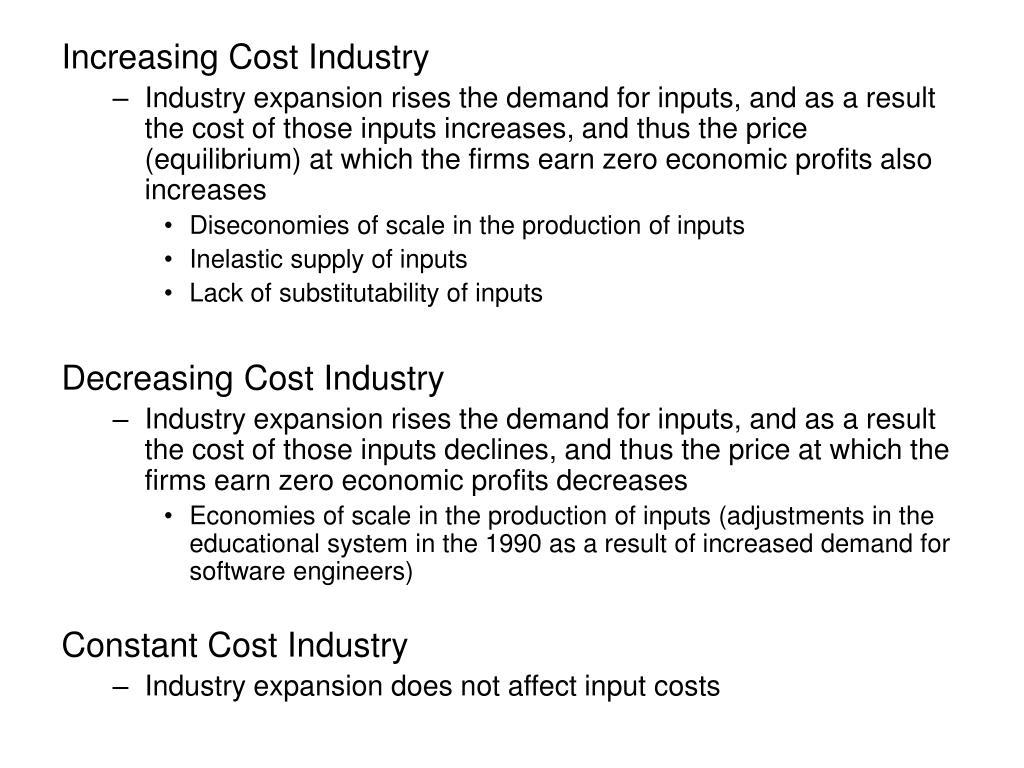 Increasing Cost Industry