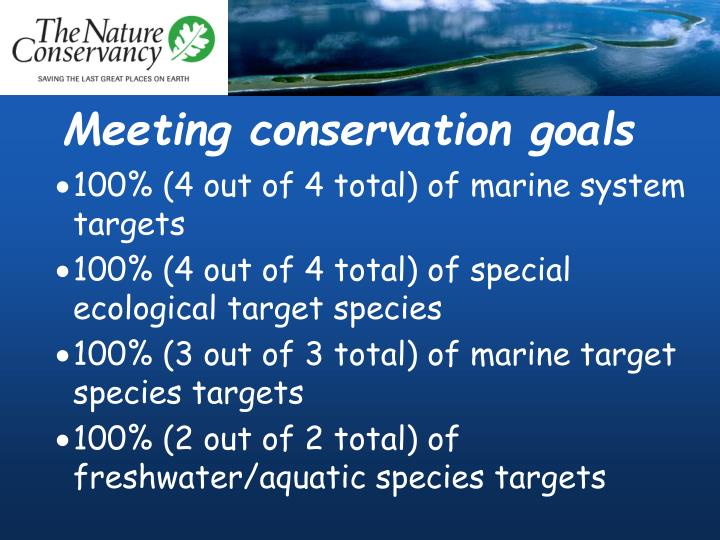 Meeting conservation goals