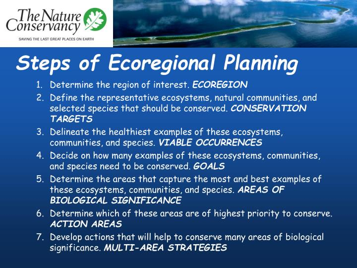 Steps of ecoregional planning