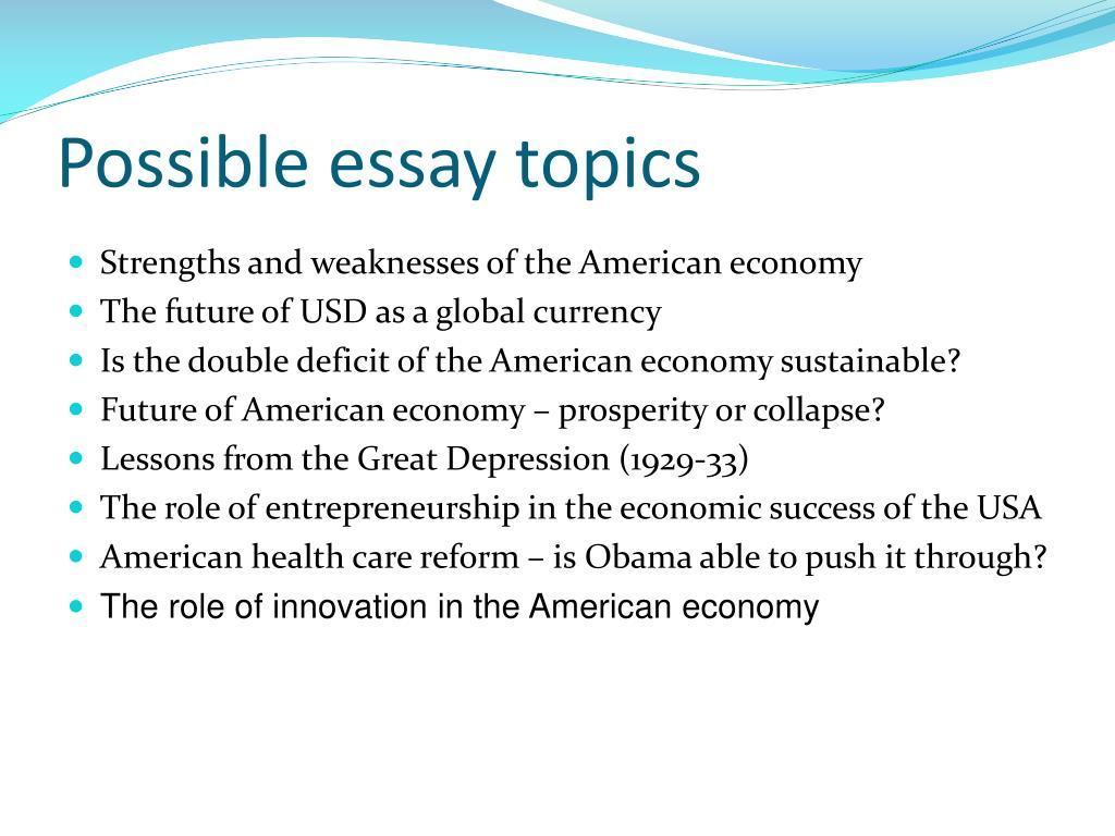 Possible essay topics
