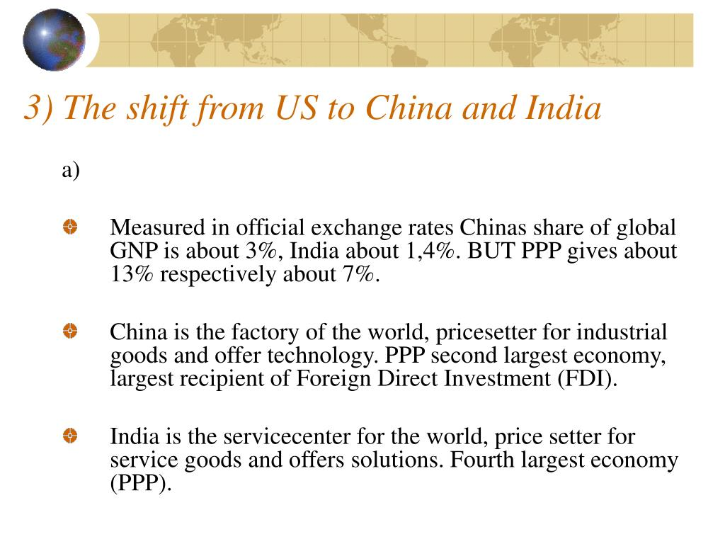 3) The shift from US to China and India
