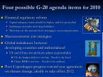 four possible g 20 agenda items for 2010