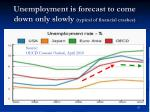 unemployment is forecast to come down only slowly typical of financial crashes