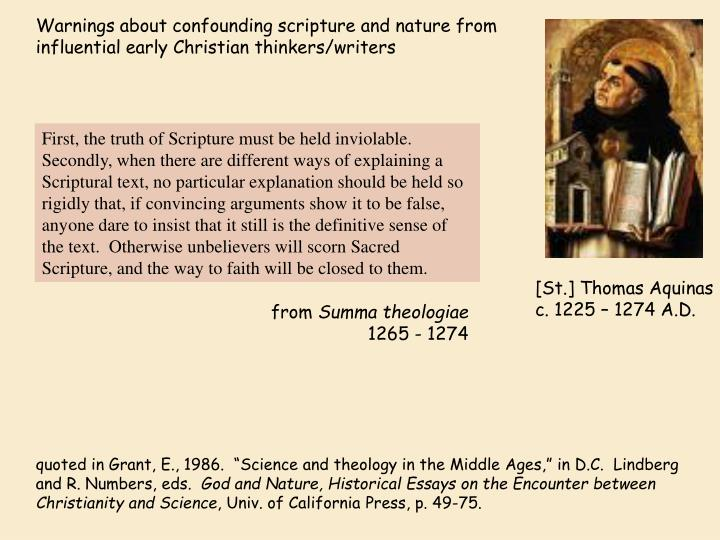 Warnings about confounding scripture and nature from influential early Christian thinkers/writers