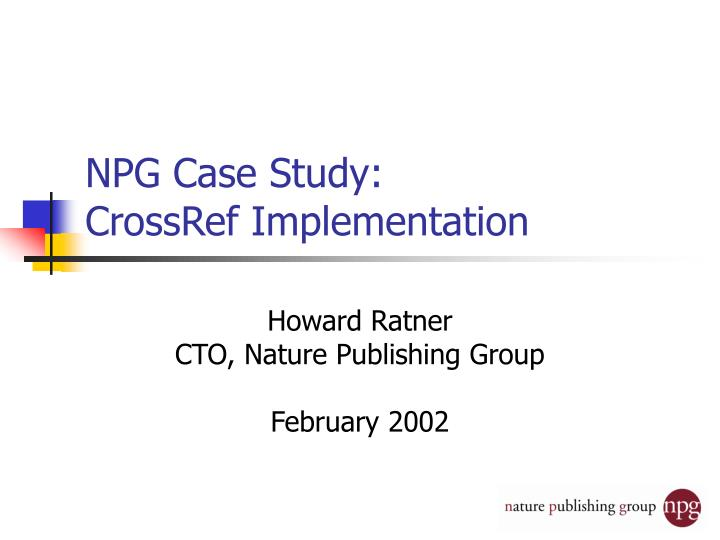 npg case study crossref implementation n.
