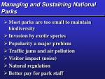 managing and sustaining national parks