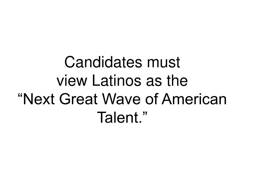 Candidates must