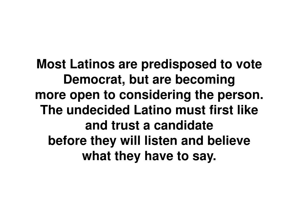Most Latinos are predisposed to vote Democrat, but are becoming