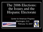 the 2006 elections the issues and the hispanic electorate