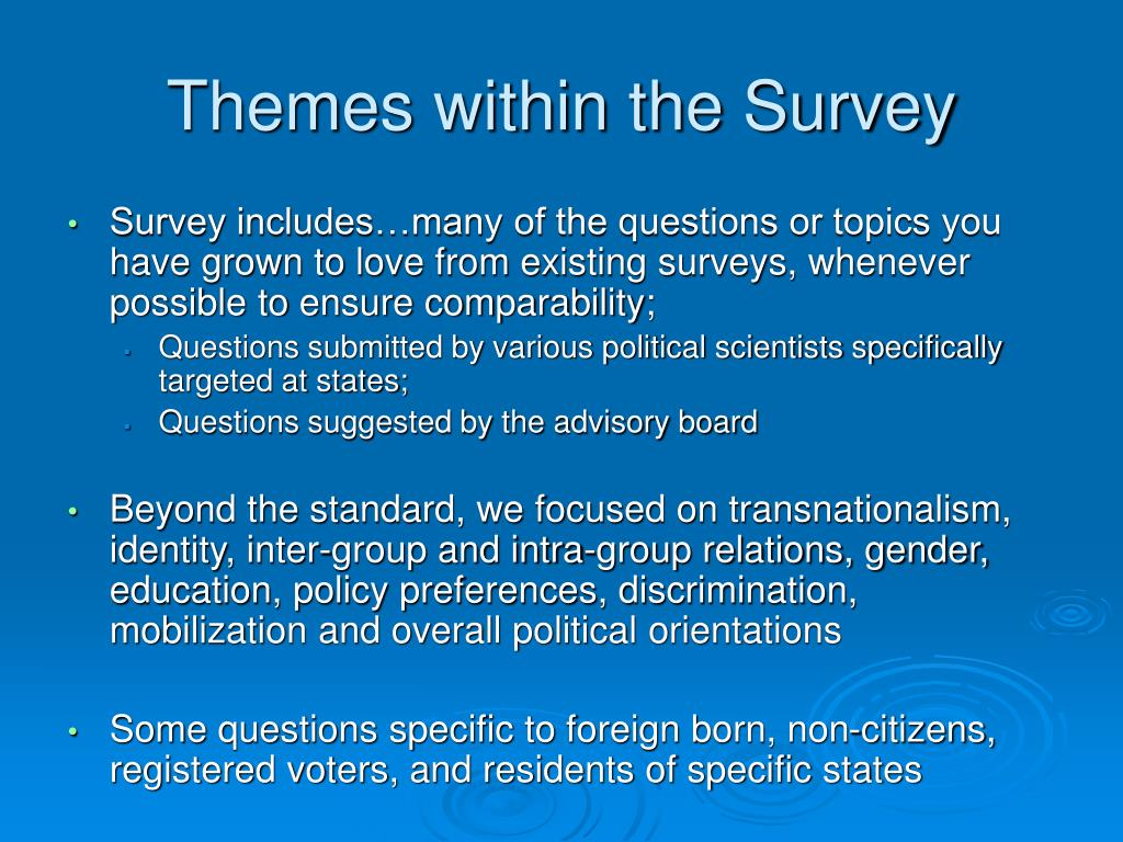 Themes within the Survey