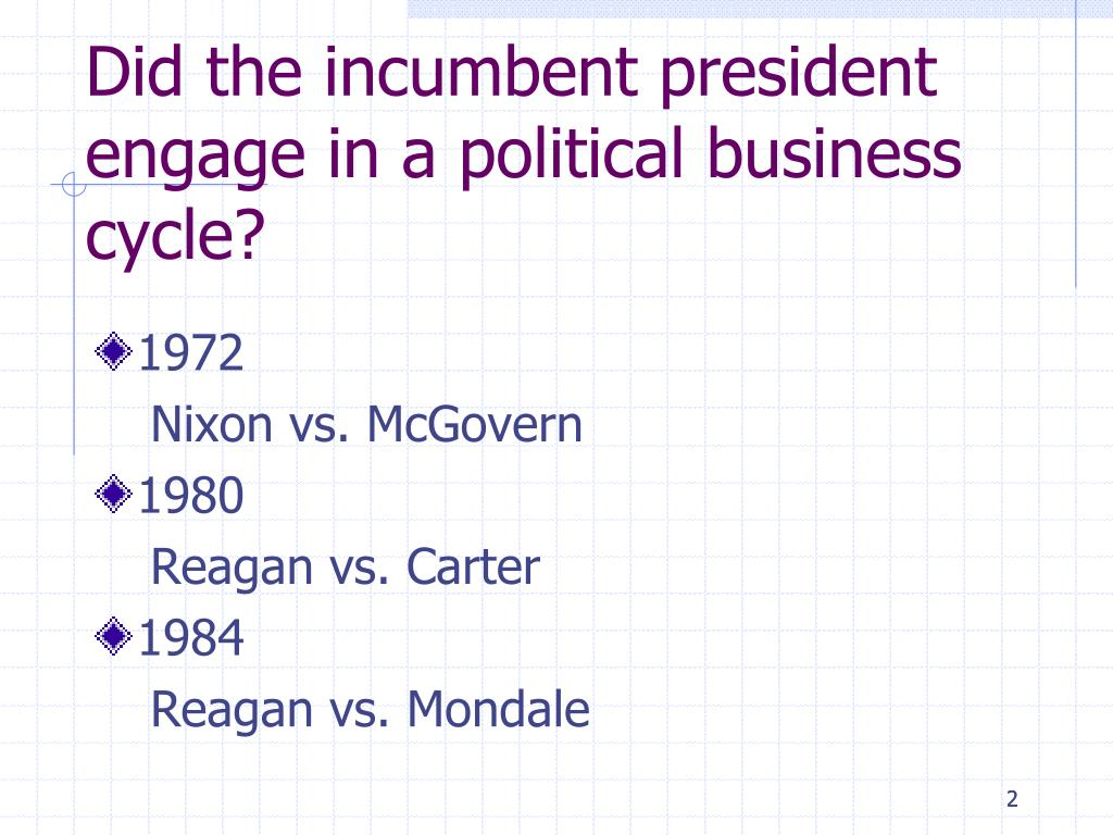 Did the incumbent president engage in a political business cycle?