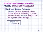economic policy agenda resources articles subscription databases