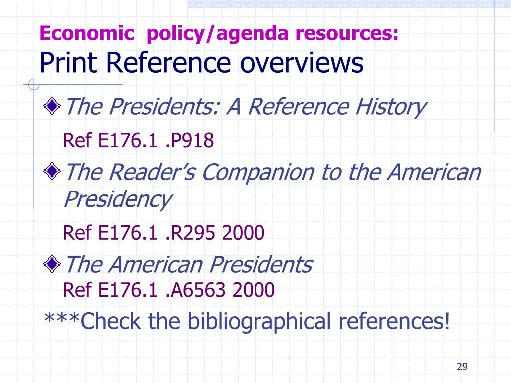 Economic  policy/agenda resources: