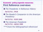 economic policy agenda resources print reference overviews