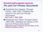 economic policy agenda resources pro and con primary documents