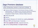 sage premiere database