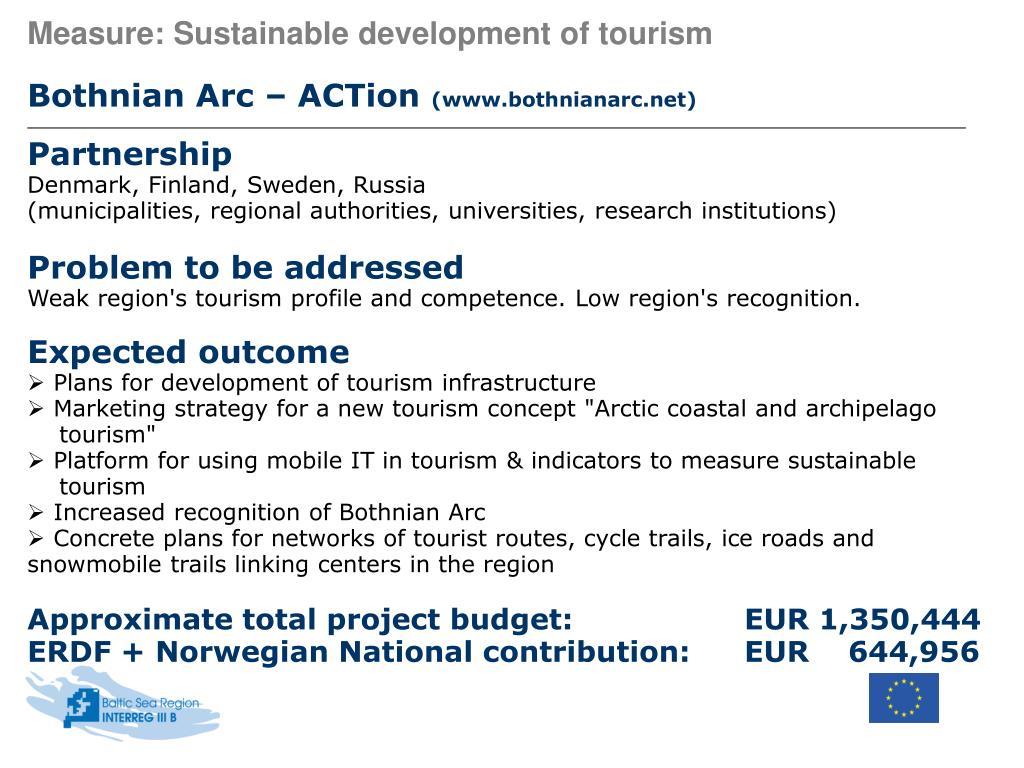 Measure: Sustainable development of tourism
