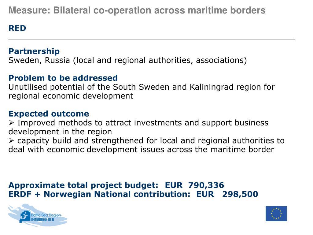 Measure: Bilateral co-operation across maritime borders