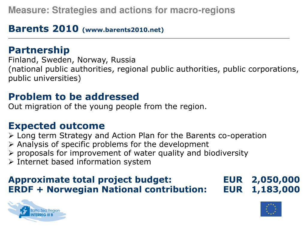 Measure: Strategies and actions for macro-regions