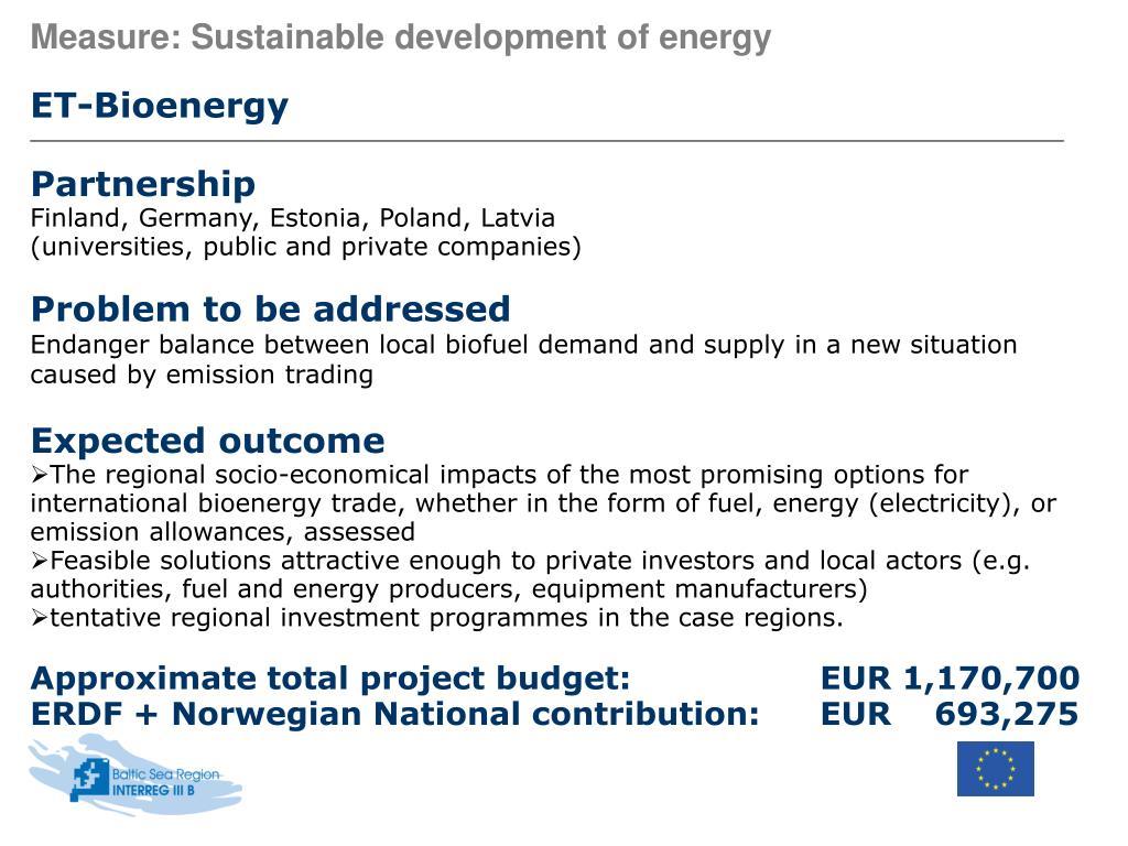 Measure: Sustainable development of energy