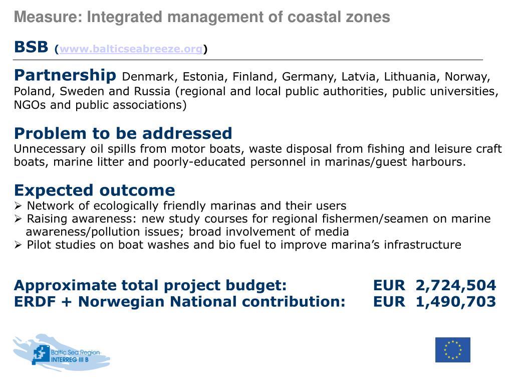 Measure: Integrated management of coastal zones