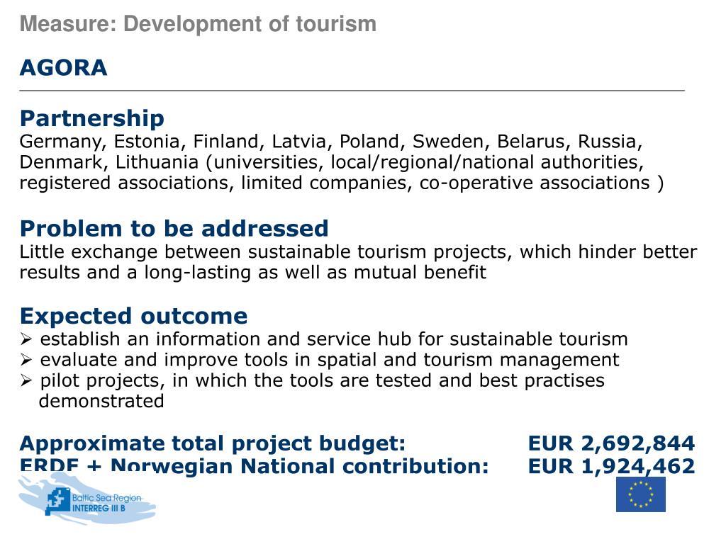 Measure: Development of tourism