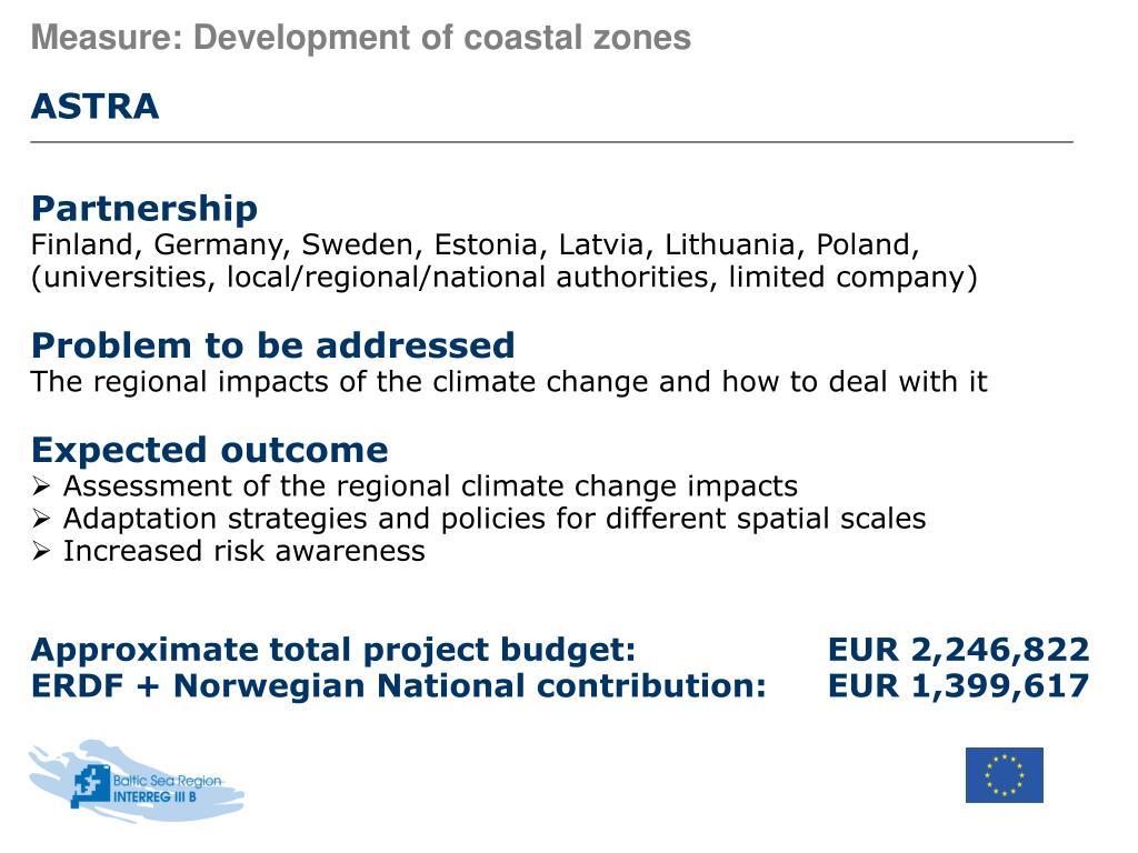 Measure: Development of coastal zones