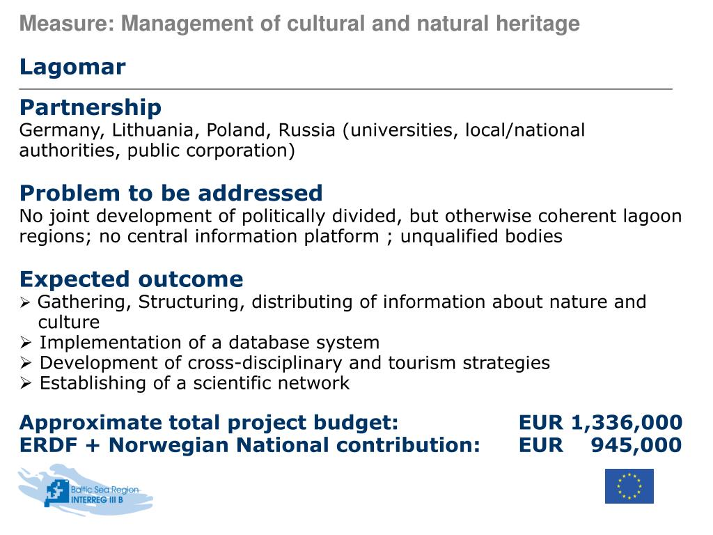 Measure: Management of cultural and natural heritage