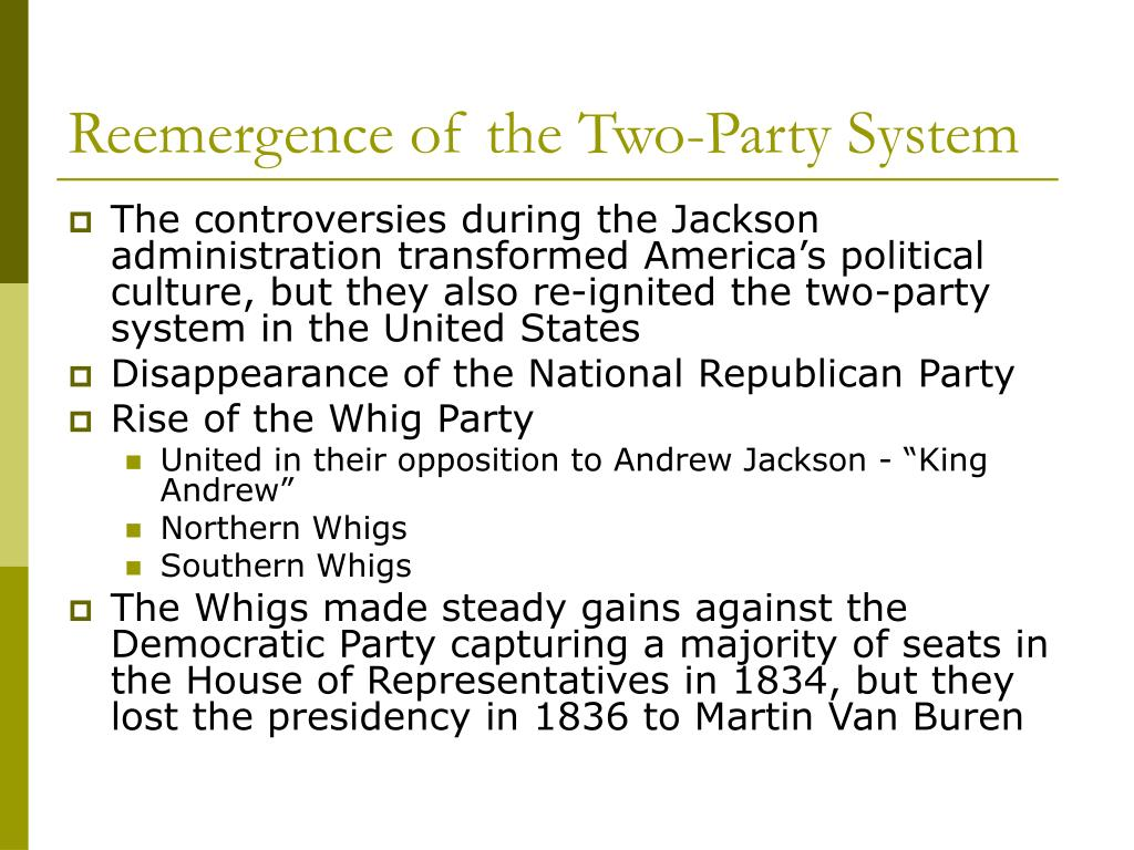 reemergence of two party systems in 1820 1840