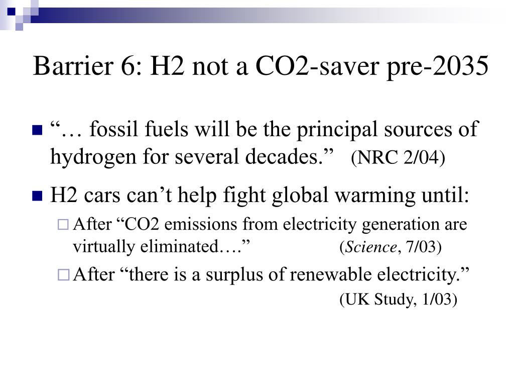 Barrier 6: H2 not a CO2-saver pre-2035