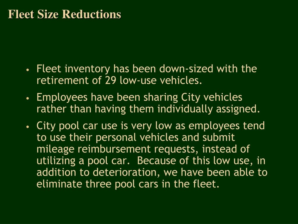 Fleet Size Reductions